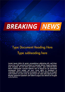 Breaking News Background Word Template, Cover Page, 15291, Careers/Industry — PoweredTemplate.com