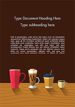 Hot Drinks Word Template, Cover Page, 15294, Food & Beverage — PoweredTemplate.com