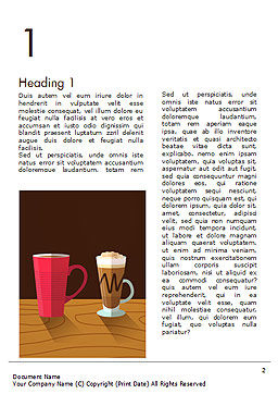 Hot Drinks Word Template, First Inner Page, 15294, Food & Beverage — PoweredTemplate.com
