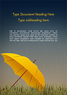 Bright Yellow Umbrella Word Template, Cover Page, 15316, Careers/Industry — PoweredTemplate.com
