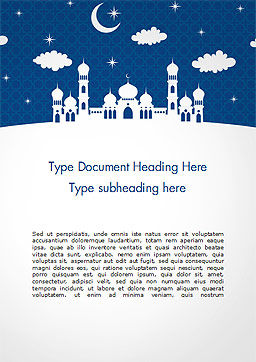 White Silhouette of Mosque Word Template, Cover Page, 15323, Construction — PoweredTemplate.com