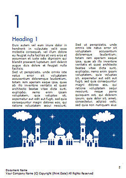 White Silhouette of Mosque Word Template, First Inner Page, 15323, Construction — PoweredTemplate.com