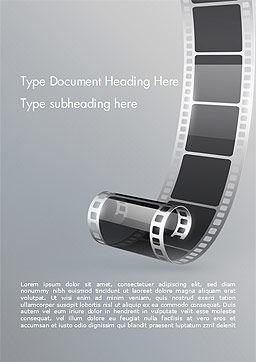 Black Film Strip Word Template, Cover Page, 15324, Art & Entertainment — PoweredTemplate.com