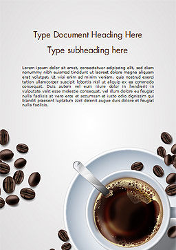 White Cup of Coffee Word Template, Cover Page, 15328, Food & Beverage — PoweredTemplate.com