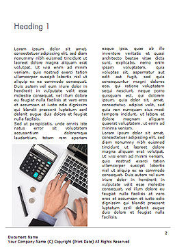 Man Working with Laptop and Calculator Word Template, First Inner Page, 15330, Financial/Accounting — PoweredTemplate.com