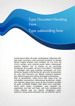Blue Wavy Line Word Template, Cover Page, 15332, Abstract/Textures — PoweredTemplate.com