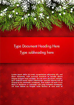 Christmas Tree Branches and Snowflakes Word Template, Cover Page, 15339, Holiday/Special Occasion — PoweredTemplate.com