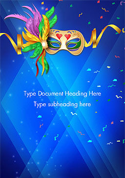 Carnival Mask Word Template, Cover Page, 15342, Holiday/Special Occasion — PoweredTemplate.com