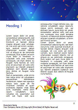 Carnival Mask Word Template, First Inner Page, 15342, Holiday/Special Occasion — PoweredTemplate.com