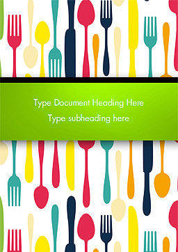 Cutlery Pattern Word Template, Cover Page, 15348, Food & Beverage — PoweredTemplate.com
