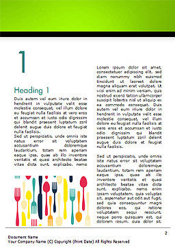 Cutlery Pattern Word Template, First Inner Page, 15348, Food & Beverage — PoweredTemplate.com
