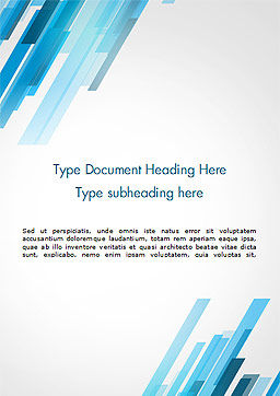 Abstraction with Blue Parallelograms Word Template, Cover Page, 15349, Abstract/Textures — PoweredTemplate.com