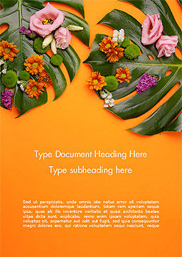 Monstera Leaves and Flowers Word Template, Cover Page, 15350, Nature & Environment — PoweredTemplate.com
