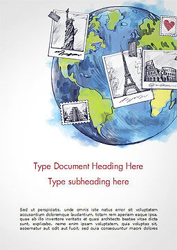 World with Famous Monuments in Hand Drawn Style Word Template, Cover Page, 15354, Careers/Industry — PoweredTemplate.com