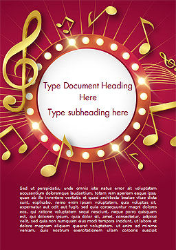 Music Show Background Word Template, Cover Page, 15355, Art & Entertainment — PoweredTemplate.com
