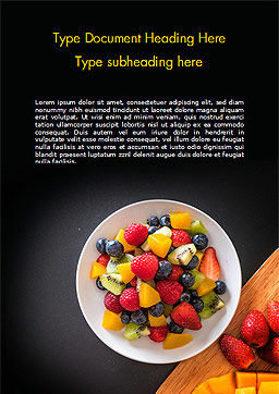 Fruit Salad Word Template, Cover Page, 15360, Food & Beverage — PoweredTemplate.com