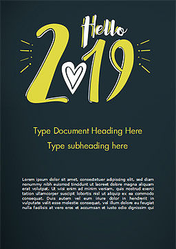Hello 2019 Word Template, Cover Page, 15365, Holiday/Special Occasion — PoweredTemplate.com
