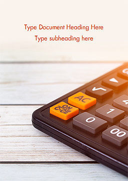 Calculator Word Template, Cover Page, 15371, Financial/Accounting — PoweredTemplate.com