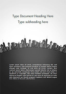 Cityscape Silhouette Word Template, Cover Page, 15372, Construction — PoweredTemplate.com