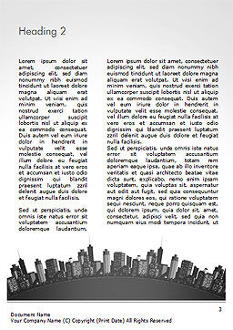 Cityscape Silhouette Word Template, Second Inner Page, 15372, Construction — PoweredTemplate.com