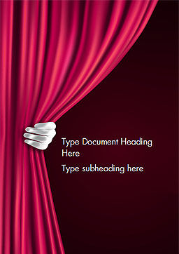 Theater Curtain Word Template, Cover Page, 15376, Art & Entertainment — PoweredTemplate.com