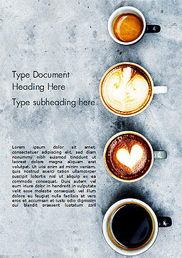 Aerial View of Various Coffee Word Template, Cover Page, 15380, Food & Beverage — PoweredTemplate.com