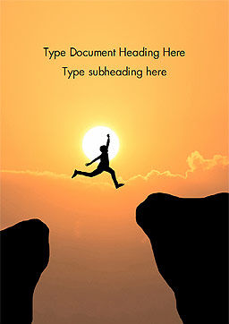 Jump Over Cliff Word Template, Cover Page, 15381, Business Concepts — PoweredTemplate.com