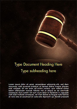 Judges Gavel Word Template, Cover Page, 15382, Legal — PoweredTemplate.com