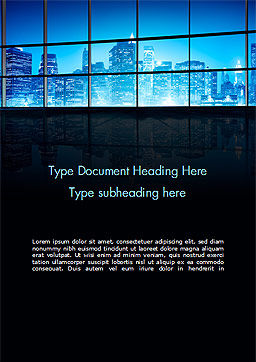 View of a Night Town Word Template, Cover Page, 15383, Construction — PoweredTemplate.com
