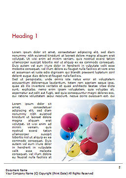 Bunch of Balloons Word Template, First Inner Page, 15386, Holiday/Special Occasion — PoweredTemplate.com