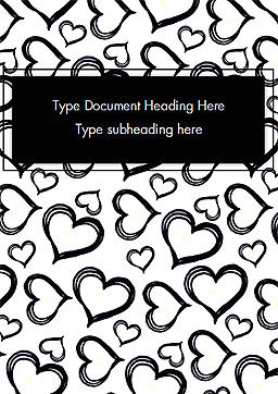 Black Hearts Word Template, Cover Page, 15390, Holiday/Special Occasion — PoweredTemplate.com