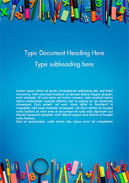 School Supplies on Blue Background Word Template, Cover Page, 15392, Education & Training — PoweredTemplate.com