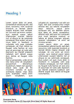 School Supplies on Blue Background Word Template, First Inner Page, 15392, Education & Training — PoweredTemplate.com