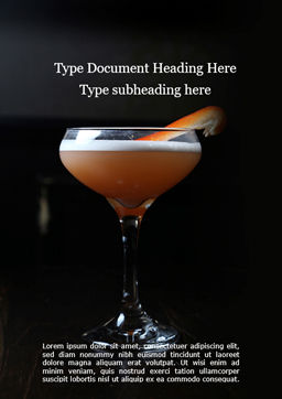 Cocktail with Orange Word Template, Cover Page, 15699, Food & Beverage — PoweredTemplate.com