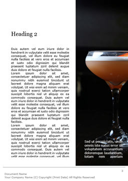 Cocktail with Orange Word Template, Second Inner Page, 15699, Food & Beverage — PoweredTemplate.com