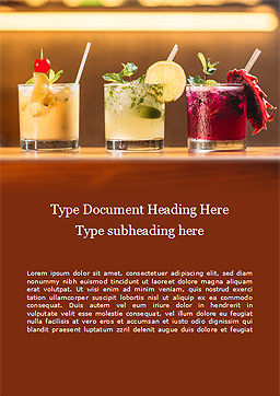 Three Tropical Cocktails Word Template, Cover Page, 15733, Food & Beverage — PoweredTemplate.com