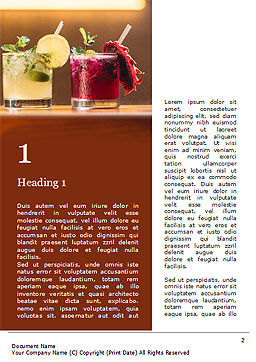 Three Tropical Cocktails Word Template, First Inner Page, 15733, Food & Beverage — PoweredTemplate.com