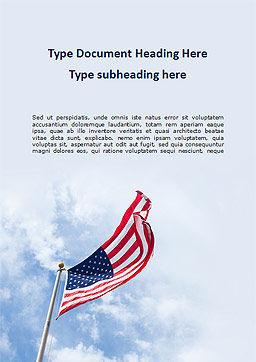 American Flag Waving on Flagpole Word Template 15780