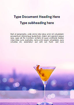 Martini Glass Against Blurred Cityscape Word Template, Cover Page, 16040, Food & Beverage — PoweredTemplate.com