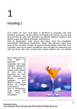 Martini Glass Against Blurred Cityscape Word Template, First Inner Page, 16040, Food & Beverage — PoweredTemplate.com