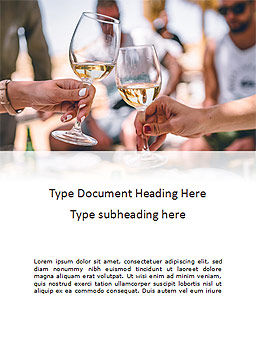 Clinking Glasses with White Wine and Toasting Word Template, Cover Page, 16044, Food & Beverage — PoweredTemplate.com