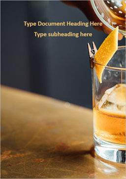 Whiskey Cocktail Word Template, Cover Page, 16099, Food & Beverage — PoweredTemplate.com