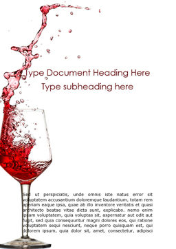 Splash of Red Wine in a Crystal Glass on White Background Word Template, Cover Page, 16299, Food & Beverage — PoweredTemplate.com
