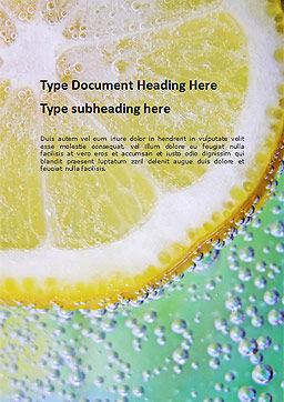 Close-up of Citrus in Water Word Template, Cover Page, 16397, Food & Beverage — PoweredTemplate.com