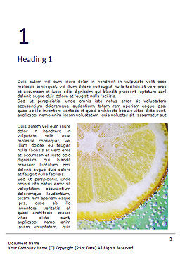 Close-up of Citrus in Water Word Template, First Inner Page, 16397, Food & Beverage — PoweredTemplate.com