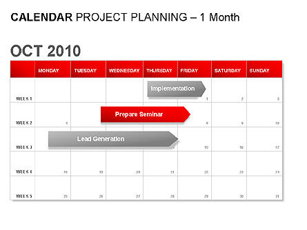 Red Calendar, 00007, Timelines & Calendars — PoweredTemplate.com