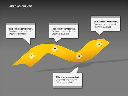 Curved Arrows Collection, Slide 8, 00011, Shapes — PoweredTemplate.com