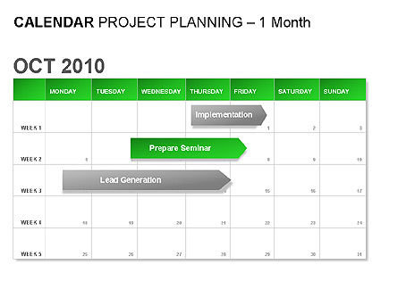 Green Calendar, 00037, Timelines & Calendars — PoweredTemplate.com