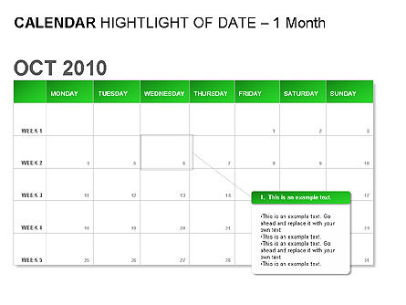 Green Calendar, Slide 2, 00037, Timelines & Calendars — PoweredTemplate.com
