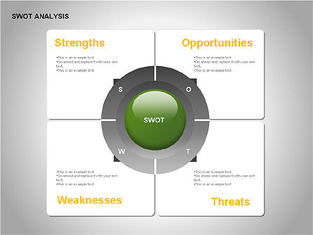 SWOT Analysis Diagram, Slide 10, 00055, Business Models — PoweredTemplate.com